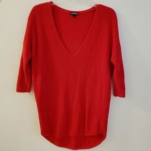 Express | Red Slouchy 3/4 Sleeve Sweater